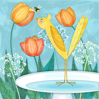 Y Is For Yellow Bird Print by Valerie Drake Lesiak