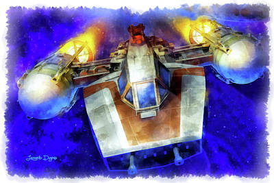 Jet Painting - Y-wing Fighter - Aquarell Style by Leonardo Digenio