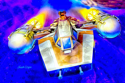 Outer Space Painting - Y-wing Fighter  - Watercolor Style -  - Da by Leonardo Digenio
