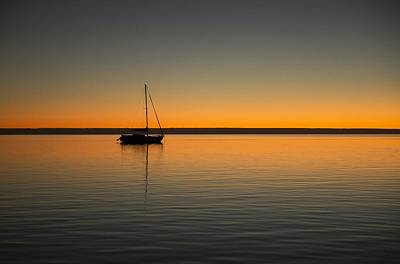 Monkey Mia Photograph - Yacht At Sunset by Gary Wright