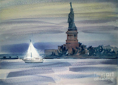 Statue Of Liberty Painting - Yacht In New York Harbor by Donald Maier