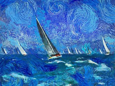 Yacht Regatta Leader Print by Yury Malkov