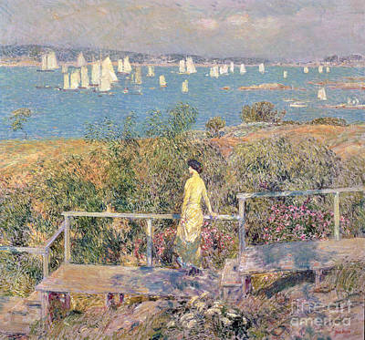Yachts In Gloucester Harbor Print by Childe Hassam