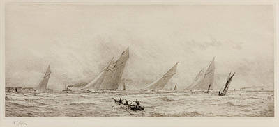 Yachts In The Solent  Print by William Lionel