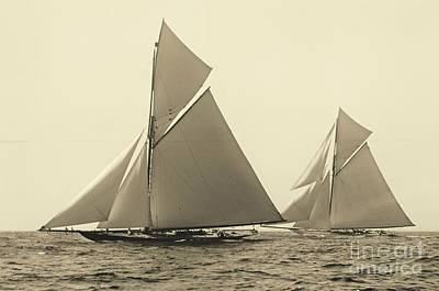 Yachts Valkyrie II And Vigilant Race For Americas Cup 1893 Print by Padre Art