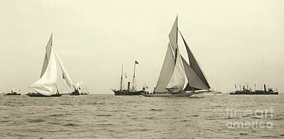 Yachts Valkyrie II And Vigilant Start Americas Cup Race 1893 Print by Padre Art
