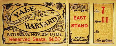 Soldier Field Digital Art - Yale Vs. Harvard Soldiers Field 1901 Vintage Ticket by Digital Reproductions