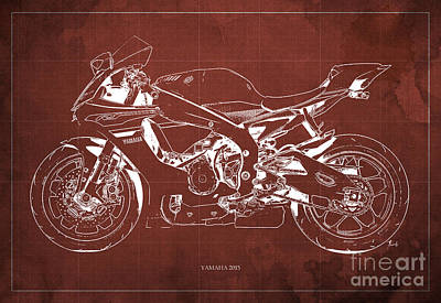 Yamaha 2015 Blueprint, Red Back Print by Pablo Franchi