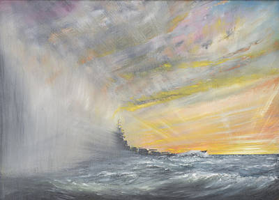 Sun Rays Painting - Yamato Emerges From Pacific Typhoon by Vincent Alexander Booth