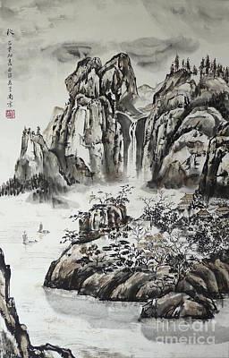Yangze River With Water Fall Original by Birgit Moldenhauer