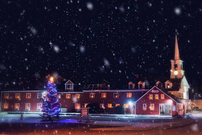 Yankee Magazine - Christmas In New England - White Steeple In Snow Print by Joann Vitali
