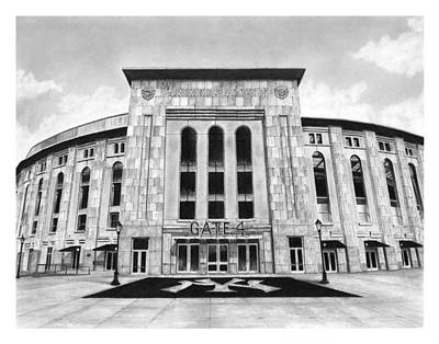 Yankee Stadium Drawing - Yankee Stadium by Greg DiNapoli