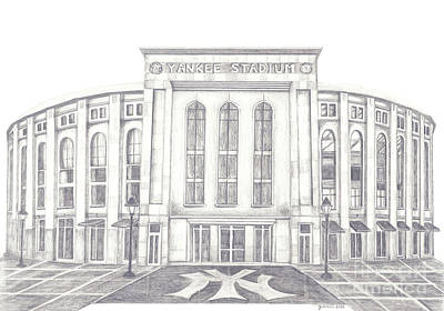 New York Baseball Parks And Fields Drawing - Yankee Stadium by Juliana Dube