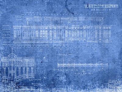 Yankee Stadium Mixed Media - Yankee Stadium New York City Blueprints by Design Turnpike