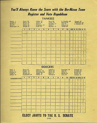 Yankees Drawing - Yankees - Dodgers - Ike - Nixon Republican Score Card by Digital Reproductions