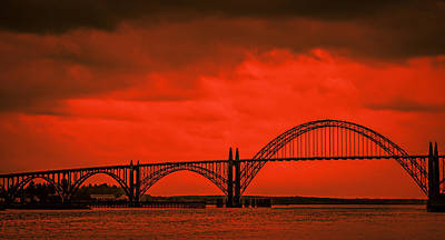 Sunsets Photograph - Yaquina Bay Bridge by Don Schwartz