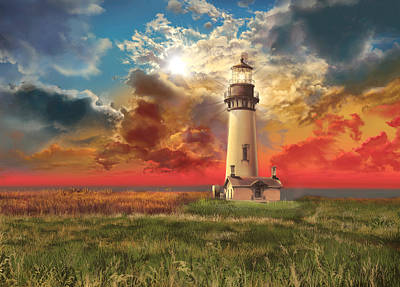 Lincoln Images Digital Art - Yaquina Head Lighthouse by Bekim Art