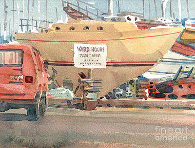 Yacht Painting - Yard Hours by Donald Maier