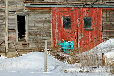 Red Barn In Winter Photograph - Ye Old Red Doors by Julie Nott