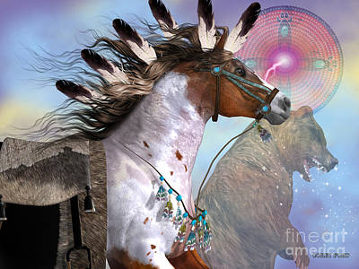 Bison Digital Art - Year Of The Bear Horse by Corey Ford