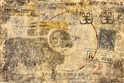 Lunar Digital Art - Year Of The Ram Postcard by Carol Leigh