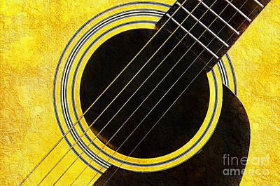 Andee Fine Art And Digital Design Photograph - Yellow 2 Guitar by Andee Design