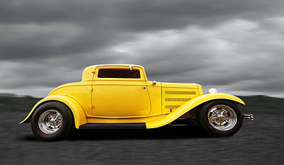 Yellow 32 Ford Deuce Coupe Print by Gill Billington