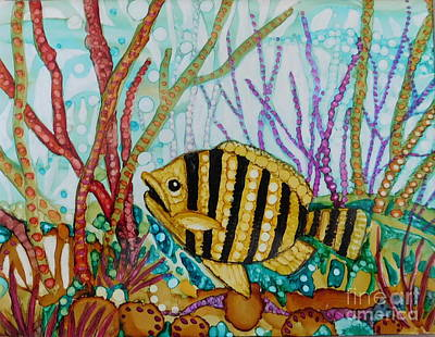 Abstract Using Brilliant Colors Painting - Yellow And Black Fish  by Joan Clear