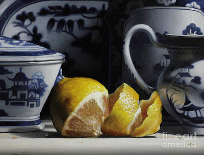 Lemon Painting - Yellow And Blue  by Larry Preston
