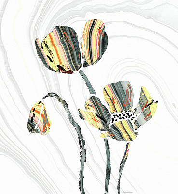 Black And White And Gray Abstract Painting - Yellow And Gray Flowers - Sharon Cummings by Sharon Cummings