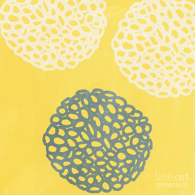 Yellow Painting - Yellow And Gray Garden Bloom by Linda Woods