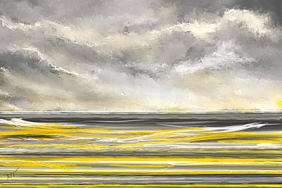 Abstract Seascape Painting - Yellow And Gray Seascape Art by Lourry Legarde