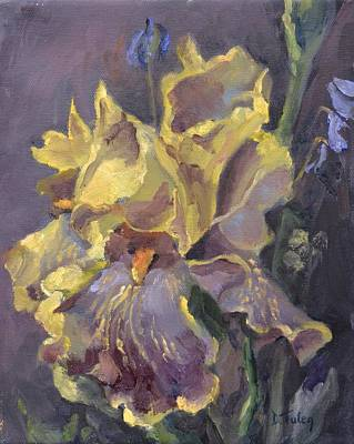 Spring Bulbs Painting - Yellow And Purple Iris by Donna Tuten