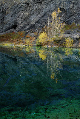 Mountain Photograph - Yellow Aspen Leaves Reflected In The Indigo Blue Waters Of Grass by Reimar Gaertner