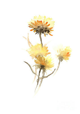 Aster Mixed Media - Yellow Aster Flowers Watercolor Poster by Joanna Szmerdt
