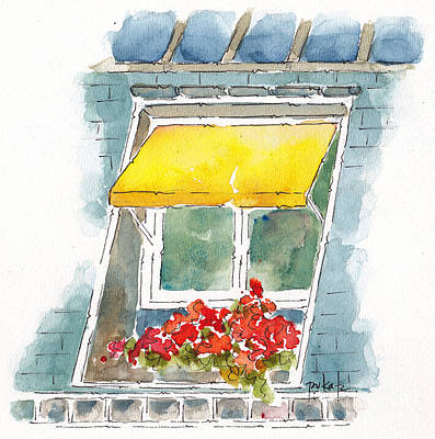 Yellow Awning Paris Window Original by Pat Katz