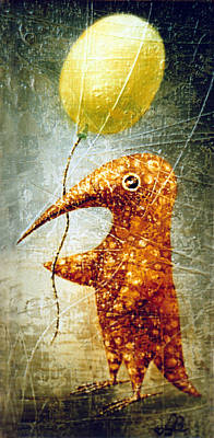 Birdman Painting - Yellow Balloon by Lolita Bronzini