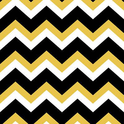 Rollo Digital Art - Yellow Black Chevron by Christina Rollo