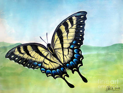 Striped Butterfly Painting - Yellow Black Swallowtail Butterfly by Sofia Goldberg