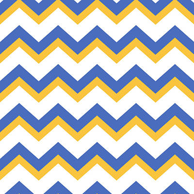 Rollo Digital Art - Yellow Blue Chevron Pattern by Christina Rollo