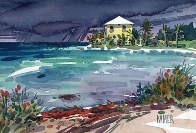 Storms Painting - Yellow Bungalow by Donald Maier