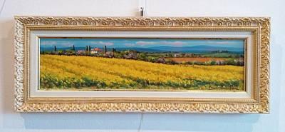 Tuscan Sunset Painting - Yellow Carpet Tuscany Toscana by Mauro Bendinelli
