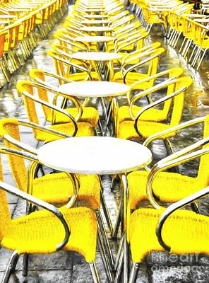 Empty Chairs Photograph - Yellow Chairs In Venice # 2 by Mel Steinhauer