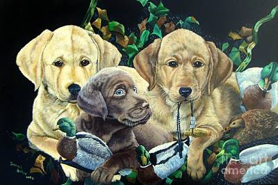Chocolate Lab Puppy Painting - Yellow/chocolate Lab Puppies- They Made Me Do It by Daniel Butler