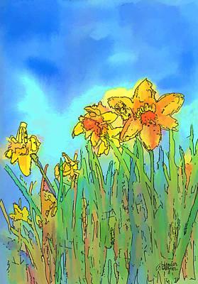 Flower Digital Art - Yellow Daffodils by Arline Wagner