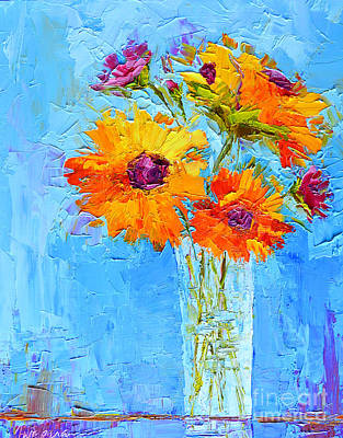 Yellow Daisies Flowers - Peonies In A Vase - Modern Impressionist Knife Palette Oil Painting Original by Patricia Awapara