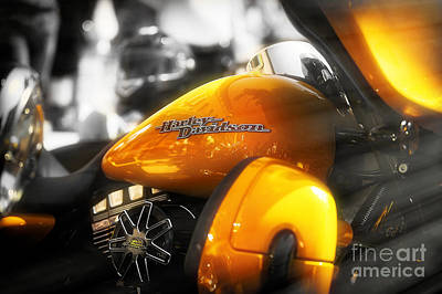 Screaming Mixed Media - Yellow Harley by Stefano Senise