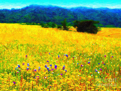 Impressionism Digital Art - Yellow Hills by Wingsdomain Art and Photography
