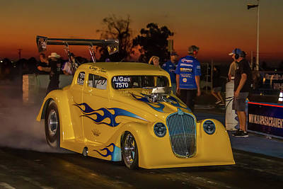 Yellow Hot Rod Print by Bill Gallagher