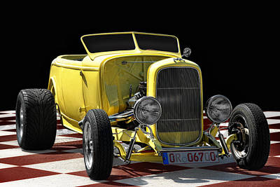 Modified Photograph - Yellow Hot Rod by Joachim G Pinkawa